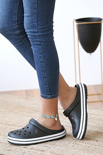 Pembe Potin Unisex Siyah Sandalet