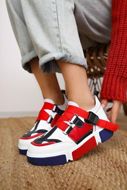 Limoya Lana Deri Kırmızı/beyaz Lastikli Spor Ayakkabı
