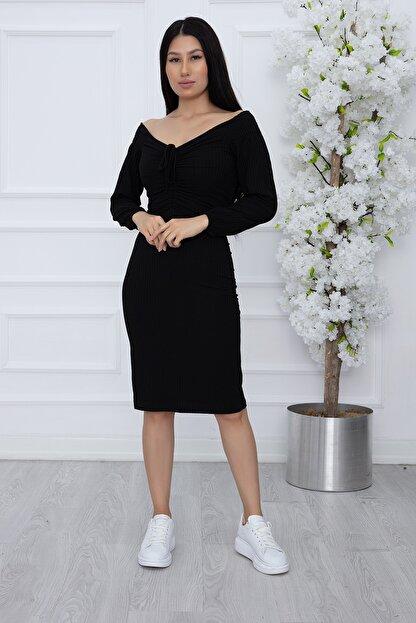 PULLIMM Kadın Siyah Göğüs Gipeli Kaşkorse Elbise 2666