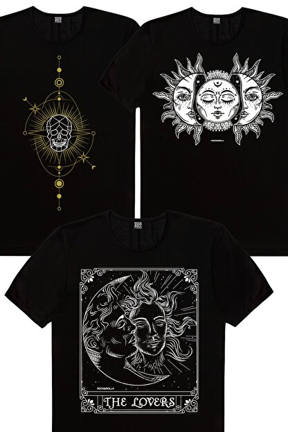 Rock & Roll Erkek Siyah Biz Ayrılamayız, Kuru Güneş, Siyah Ay Güneş 3'lü Eko Paket T-Shirt