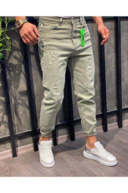Oliggopol Erkek Yeşil Paçası Lastikli Likrasız Boyfriend Kot Pantolon