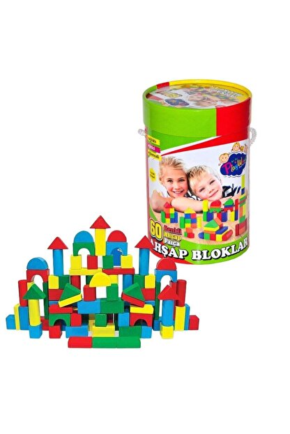 ONYIL Kutulu 60 Parça Renkli Ahşap Bloklar