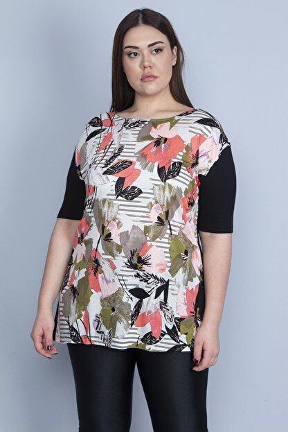 Şans Kadın Siyah Önü Çiçek Desenli Viskon Bluz 65N23110