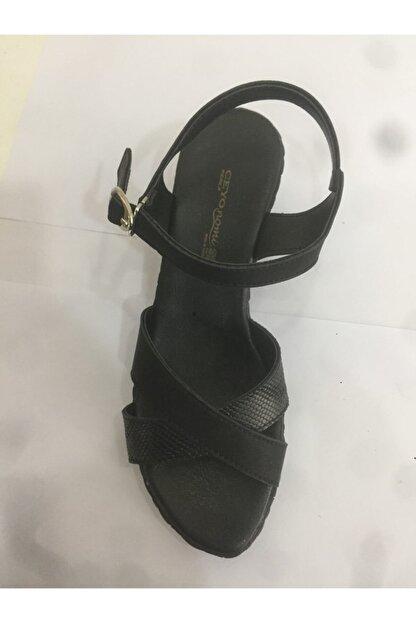 Ceyo Kadın  Siyah Anatomik Sandalet