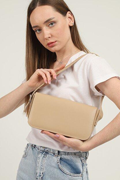Gülçem Çanta Kadın Nude Geniş Baget Çanta