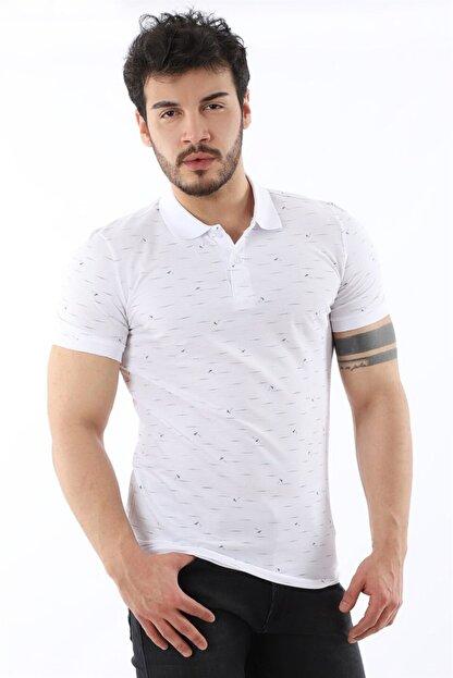 Arlin Erkek Polo Yaka Düğmeli Çizgi Yaprak Desenli Slim Fit Beyaz T-shirt