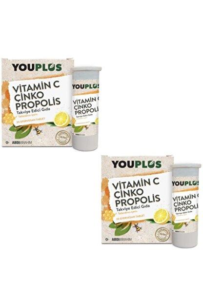 Youplus Vitamin C, Çinko, Propolis Efervesan Tablet Takviye Edici Gıda 2 Adet