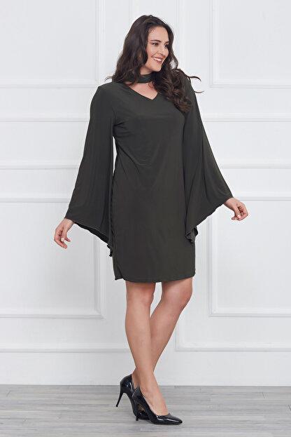 Laranor Kadın Yeşil Kol Detaylı Elbise 17LB9018