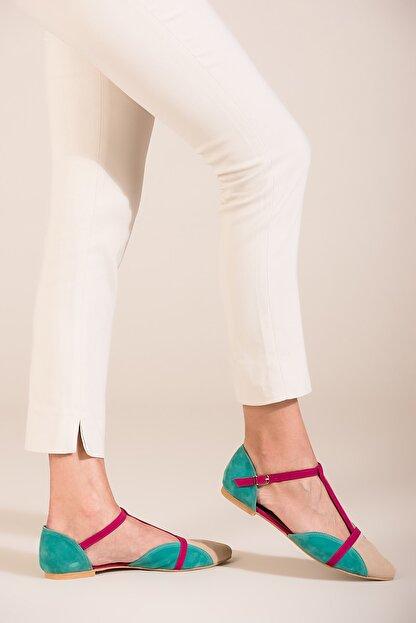 Fox Shoes Ten Fuşya Yeşil Kadın Ayakkabı B726881802