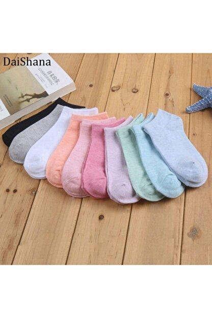 FUBA Aksesuar 10 Çift Koton Karışık Renk Kadın Patik Çorap Seti