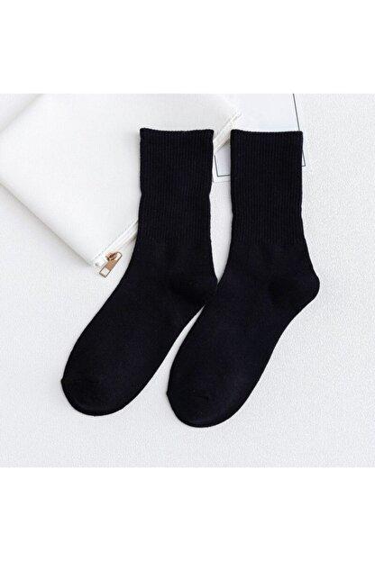 çorapmanya Siyah 6'lı Paket Çizgisiz Pamuklu Kolej Tenis Çorap