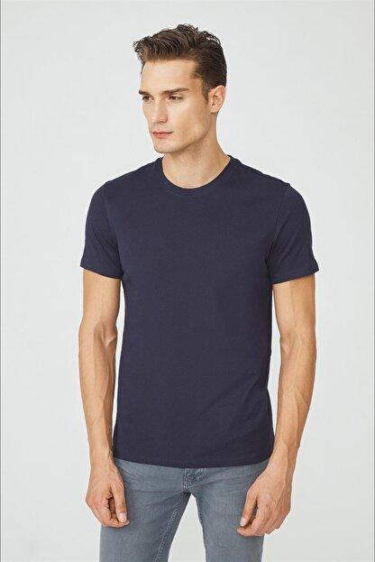 Avva Erkek Lacivert Bisiklet Yaka Düz T-shirt E001000