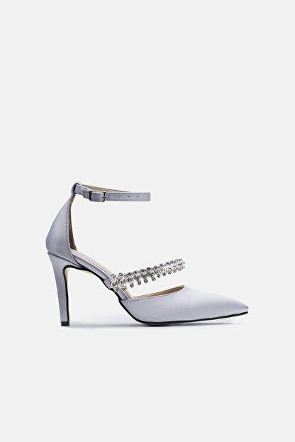 Jorbinol Kadın Gümüş Renk Bant Detaylı Hera Topuklu  Abiye Ayakkabı