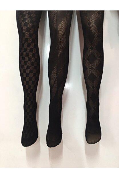 Nbb Kadın Desenli Kilotlu Çorap 3lü