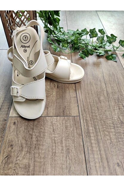 Keven Home Kadın Krem Sandalet Çift Bant Anatomik ve Ortopedik Sandalet