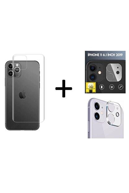 Go Aksesuar Iphone 12 (6.1) Uyumlu Arka Koruma Anti-şok Nano Cam + Lens Koruma Aa Kalite