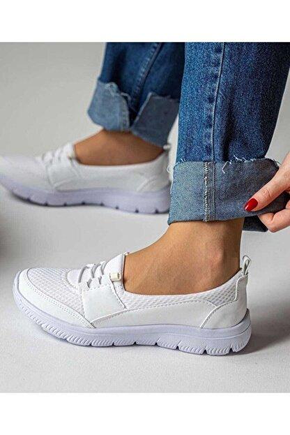 Mistyy Kadın Beyaz Spor Ortopedik Taban Bağcık Detaylı Babet Sneaker