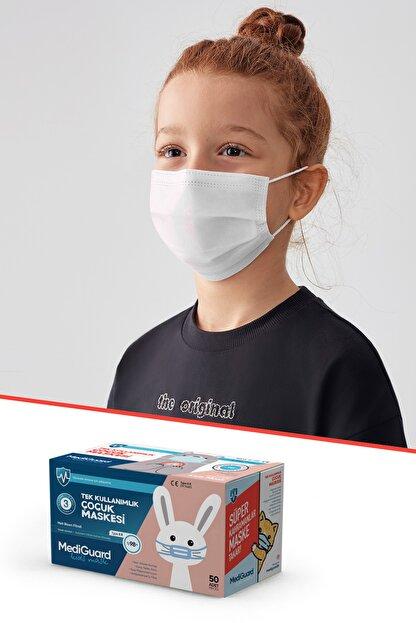 MediGuard Çocuk Beyaz Tıp2r Meltblown 3 Katlı Cerrahi Maskesi 50 Adet