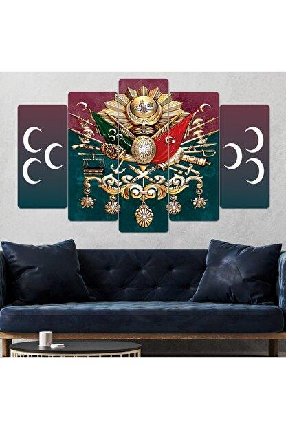 hanhomeart Osmanlı Üç Hilal Parçalı Ahşap Duvar Tablo Seti-5pr-942