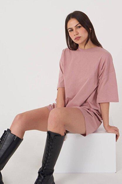 Addax Kadın Gül Oversize T-Shirt P0731 - G6K7 Adx-0000020596