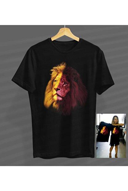 NVM Tekstil Gs Sarı Kırmızı Aslan Özel Tasarım Siyah Yuvarlak Yaka T-shirt