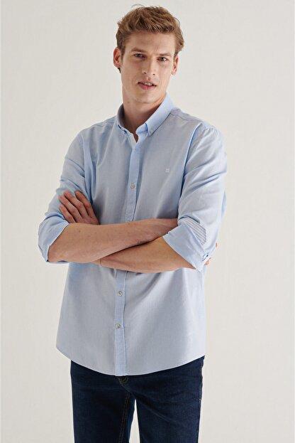 Avva Erkek Açık Mavi Düz Düğmeli Yaka Regular Fit Gömlek A11y2026