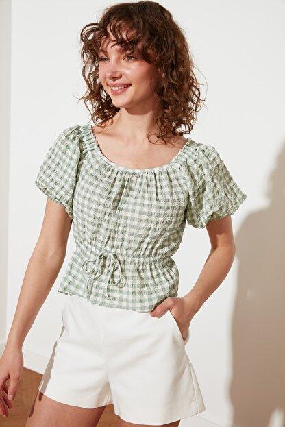 TRENDYOLMİLLA Mint Petite Bağlama Detaylı Bluz TWOSS21BZ1526