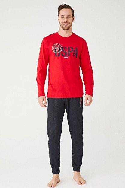 US Polo Assn Erkek Kırmızı Yuvarlak Yaka Pijama Takım