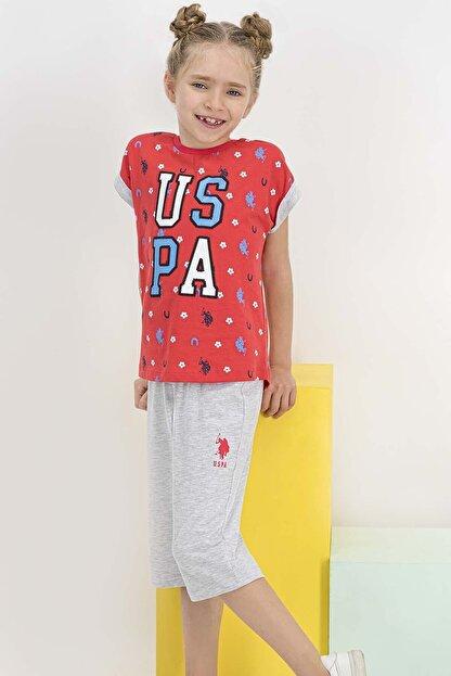 US Polo Assn Lisanslı Nar Kız Çocuk Kapri Takım