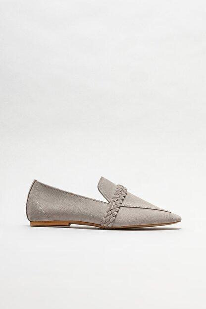 Elle Kadın Gri Deri Loafer Ayakkabı