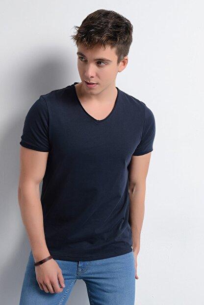 Rodi Jeans Erkek T-Shirt V Yaka Pis Dikiş Basic