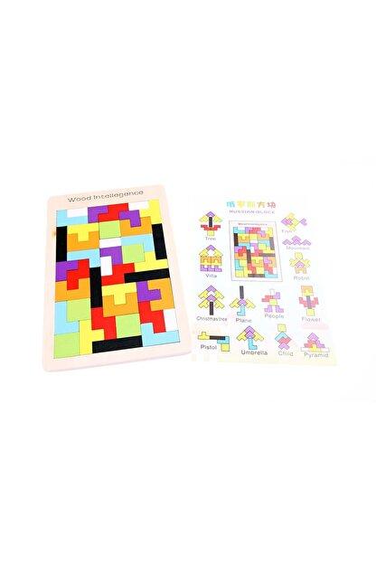 AKADEMİLOJİ Ahşap Blok Tetris Oyunu /