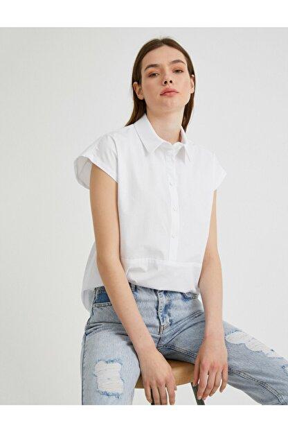 Koton Kadın Beyaz Gömlek Yaka Bluz