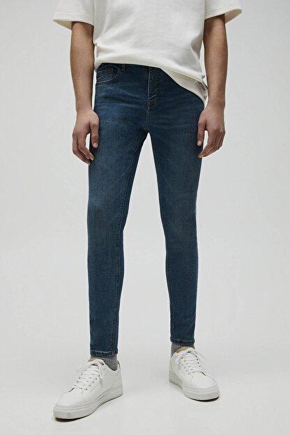 Pull & Bear Erkek Mavi Basic Super Skinny Fit Jean 04681520