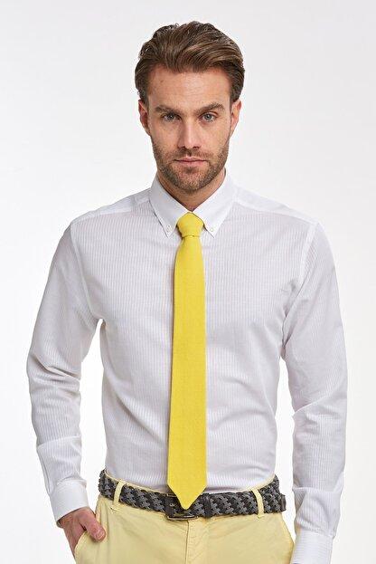 Hemington Çizgili Beyaz Ince Business Gömlek