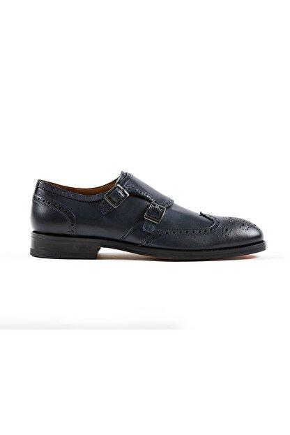 Hemington Erkek Tokalı El Yapımı Lacivert Deri Ayakkabı