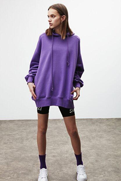 GRIMELANGE VIENNA Kadın Mor Ekstra Oversize Yan Cepli Kapüşonlu Sweatshirt