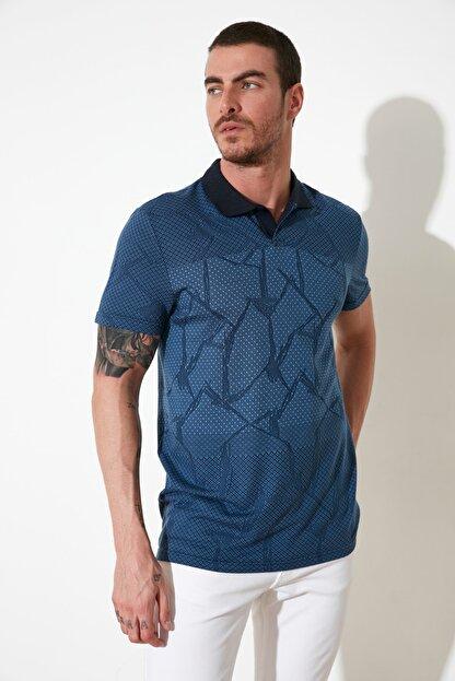 TRENDYOL MAN Mavi Erkek Regular Fit Polo Yaka T-shirt TMNSS21PO0026
