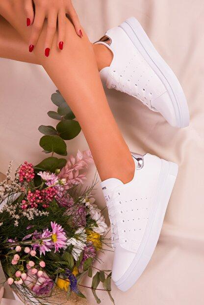 Soho Exclusive Beyaz Gumus Kadın  Sneaker