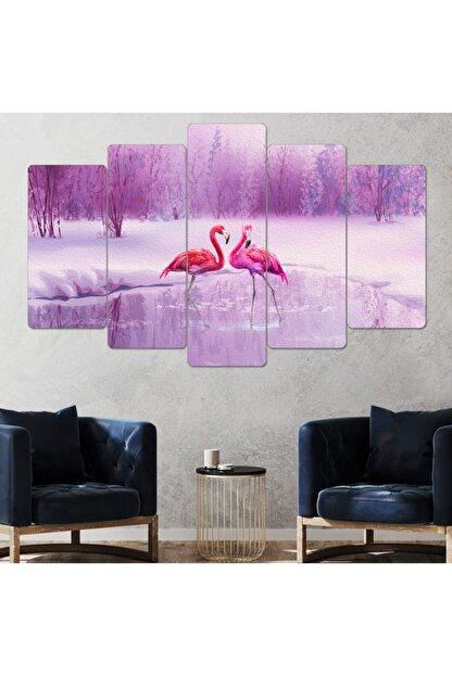 hanhomeart Flamingo Parçalı Ahşap Duvar Tablo Seti-5pr-951