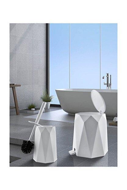 Elif Beya Plastik 5 l Çöp Kovası ve Tuvalet Fırçası Geo 2'li Banyo Seti