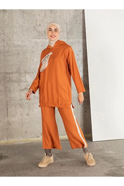 Loreen Kadın Kiremit Tunik Pantolon 2'li Takım