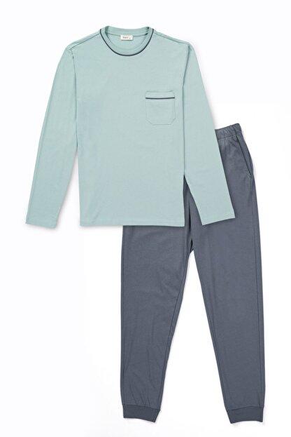 Dagi Erkek Mint Yeşili Pamuk Cepli Pijama Takımı