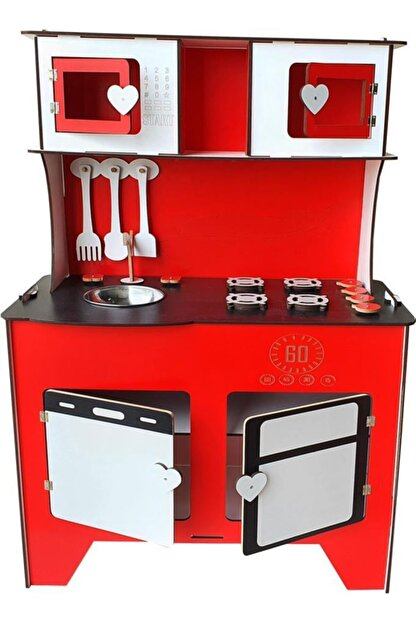 WoodyLife 104 cm Çocuk Odası Ahşap Mutfak Montessori Oyuncak Dolabı Kırmızı Zeytindalı Oyunevi