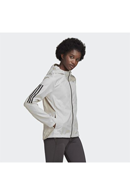 adidas Kadın Beyaz Kapüşonlu Rüzgarlık