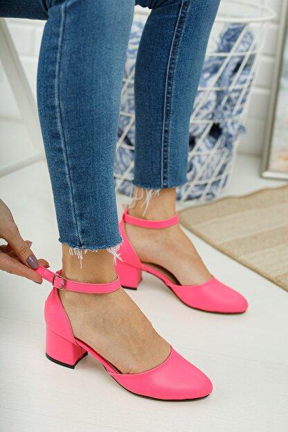MERVE BAŞ ® Pembe Cilt Bilekten Tek Bant Kalın Topuklu Klasik Ayakkabı