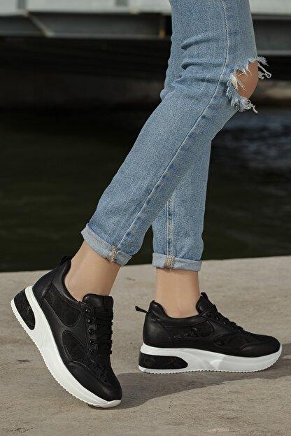 Daxtors Kadın Siyah Günlük Ortopedik Sneaker Ayakkabı D1022