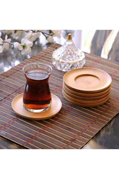 EMIR Bambu Çay Tabağı 6'lı Bardak Altlığı Ahşap Organik Çay Tabağı Takımı Yuvarlak