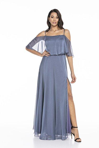 Abiye Sarayı Kadın Mavi Askılı Yırtmaç Detaylı Şifon Elbise