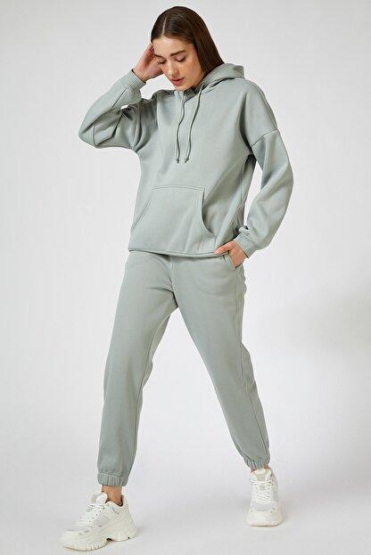 Happiness İst. Kadın Çağla Yeşili Kapüşonlu Polarlı Oversize Eşofman Takımı  DD00762